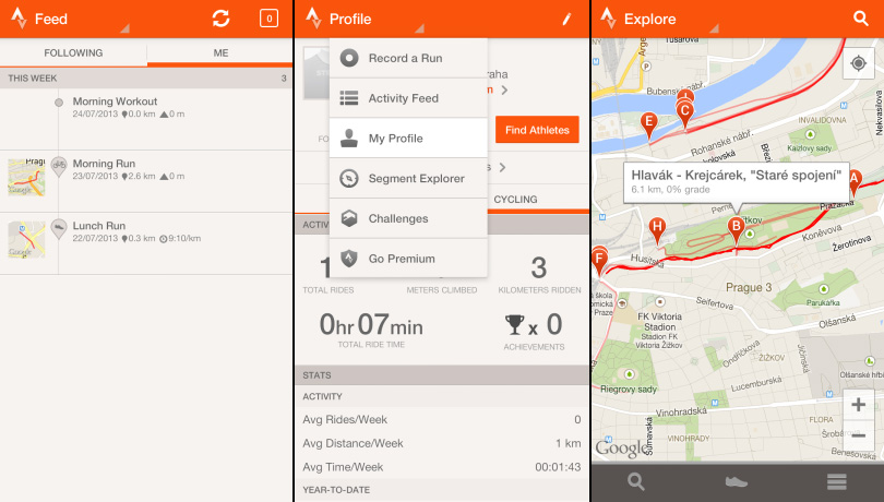 Strava Run aktivity, profil a menu, Segment Explorer
