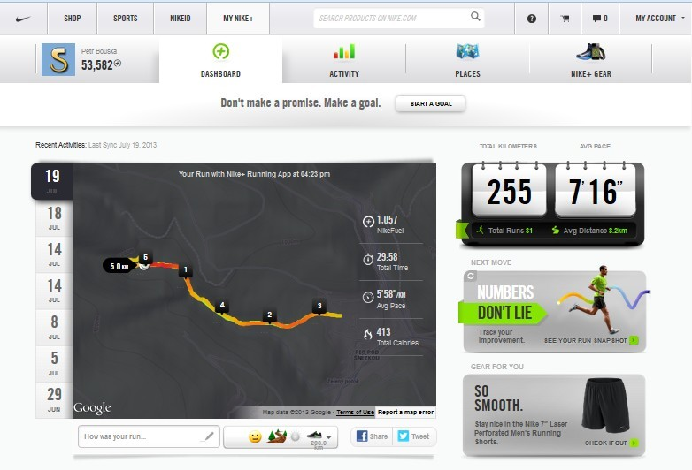 Nike+ web dashboard