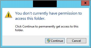 You don't currently have permission to access this folder.