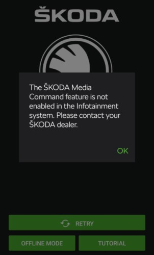 ŠKODA Media Command chyba