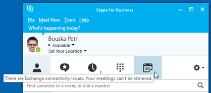 Skype for Business klient chyba integrace 2