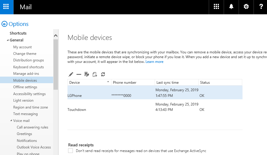 Outlook on the web - Mobile devices