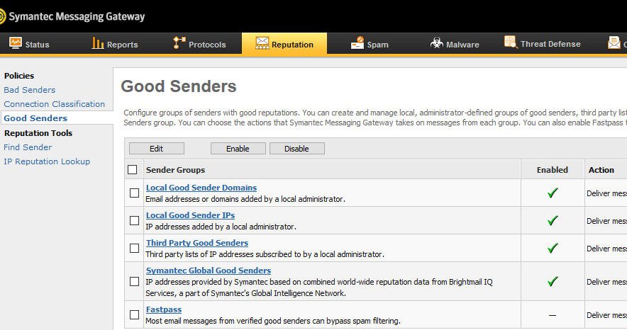 Symantec Messaging Gateway - nastavení Safe Senders