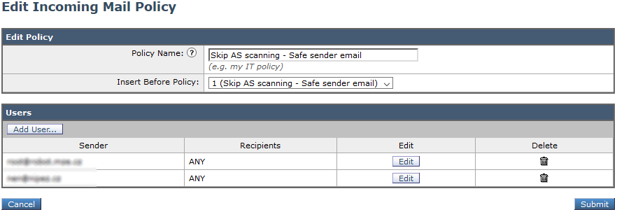 Cisco Email Security - Incoming Mail Policies Whitelist