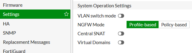 FortiGate - System Operation Settings