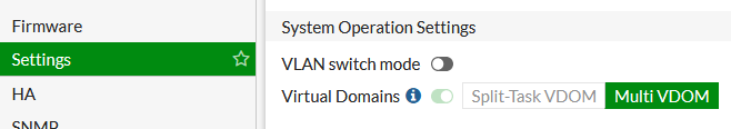 FortiGate - System Operation Settings VDOM