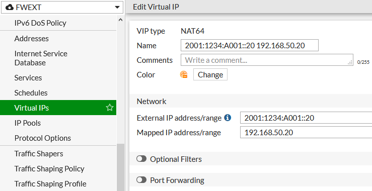 FortiGate - NAT64 Virtual IP