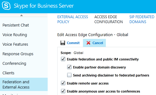 Skype for Business Server Control Panel - Enable partner domain discov